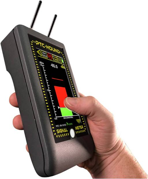 PTC-Hound Positive Train Control 220 MHz signal meter for railway safety